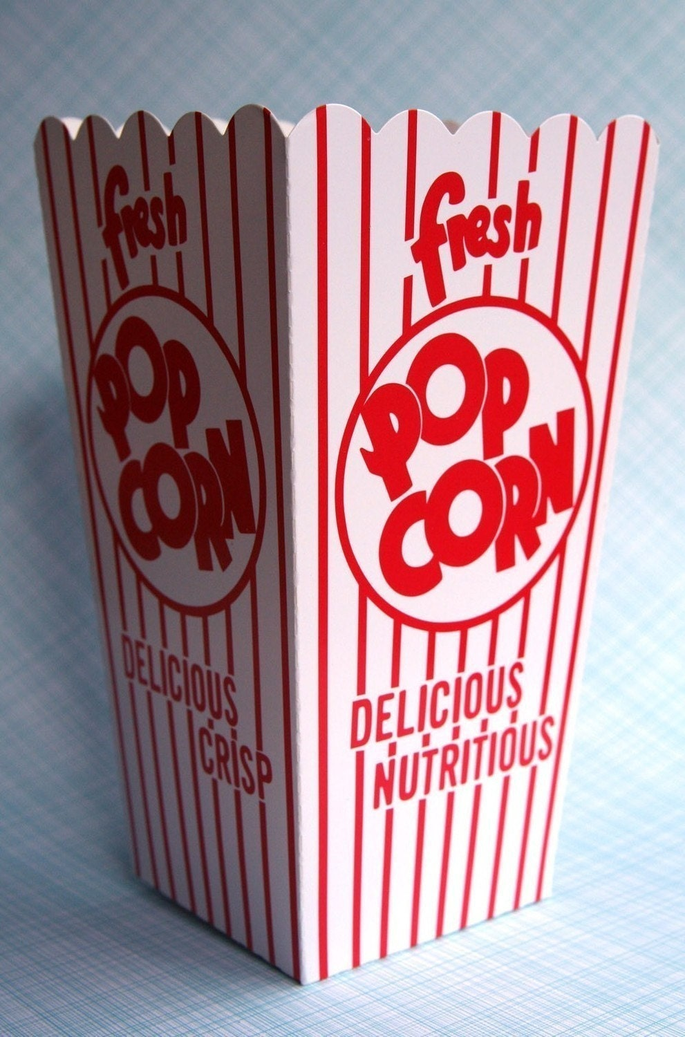 Retro Popcorn Boxes set of 6 Red and White Carnival