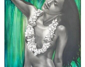 WAHINE Tiare Tahitian girl Print - Island style - Hawaiian decor- Free shipping