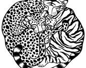 100% donation to wild cat conservation group Panthera - Panthera Pair, limited edition silkscreen print (black & white)
