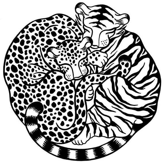 100% donation to wild cat conservation group Panthera - Panthera Pair, limited edition silkscreen print (black & white)