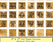 Vintage Letters- PRINTABLE PDF - 1 Inch Squares