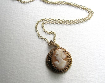 Small pink vintage cameo pendant necklace on delicate 14k gold plated chain