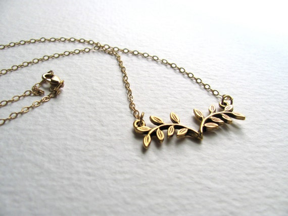 Gold leafy flower pendant necklace on delicate 14k gold plate chain, bib necklace, vintage inspired, branch