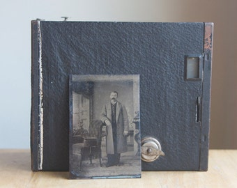 Tintype: Portrait Of A Handsome Man In Overcoat, Manly Decor, Masculine Photograph