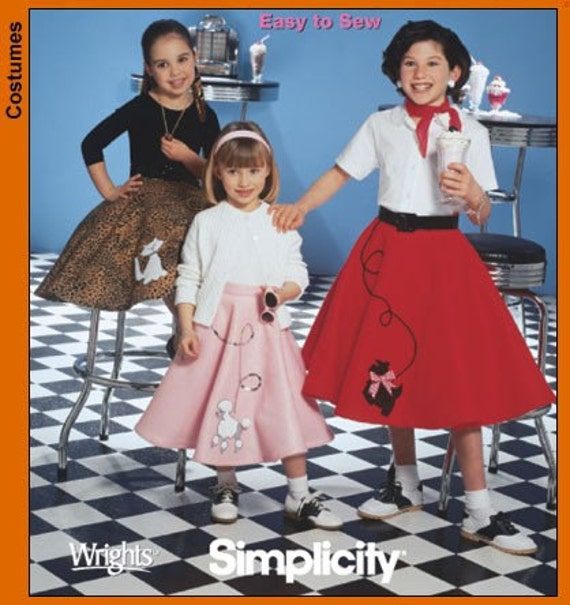 Simplicity Pattern 5401 - Poodle Skirt - GIRLS/CHILD size 7-14 - Halloween - Sock Hop