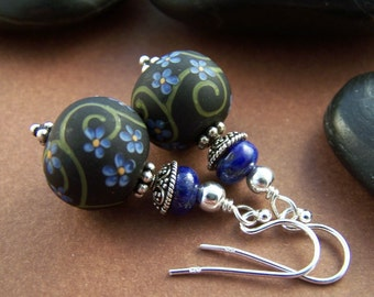 Journey Earrings - Artisan Glass Bead with Lapis Lazuli and Sterling Silver