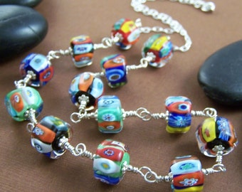 Woodstock Necklace - Artisan Lampwork Glass Bead and Sterling Wire Wrapped