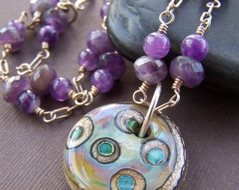 Undercurrent Glass Pendant  - Wire Wrapped Sterling Silver Amethyst Gemstone Necklace