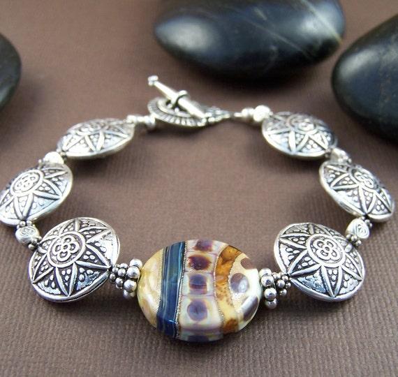 Tribal Bracelet - Thai Silver and Lampwork Glass Bead Bracelet Sterling Silver