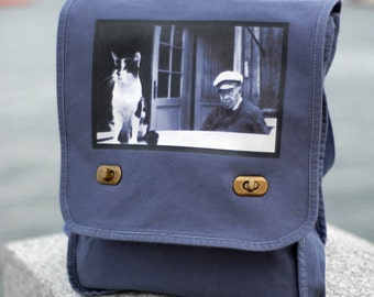 The Old Man and the Sea Cat - Vintage Photo - Field Bag - Messenger Bag - School Bag - Ernest Hemingway