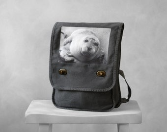 Messenger Bag - The Harbor Seal - Field Bag - School Bag - Smoke Gray - Canvas Bag