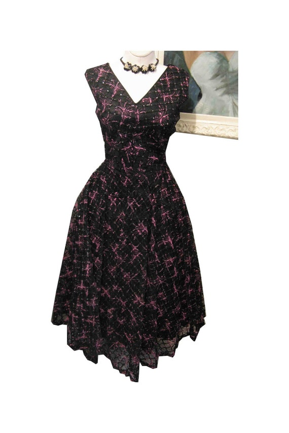On Hold - L Retro Atomic Pink Black Silver Lurex 50's Fishnet Dress  38-30-full