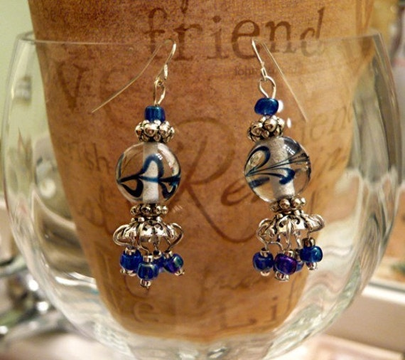 French Glass Lampwork Bead Earrings    FREE SHIPPING