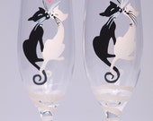 Hand painted Toasting Flutes Set of 2 Personalized Champagne glasses Black and White Cats with Crystals