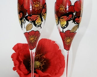 Hand painted Wedding Toasting Flutes Set of 2 Personalized Champagne glasses Red poppies and butterflies