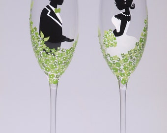 Hand painted Wedding Toasting Flutes Groom and Bride green and white  - Loving green