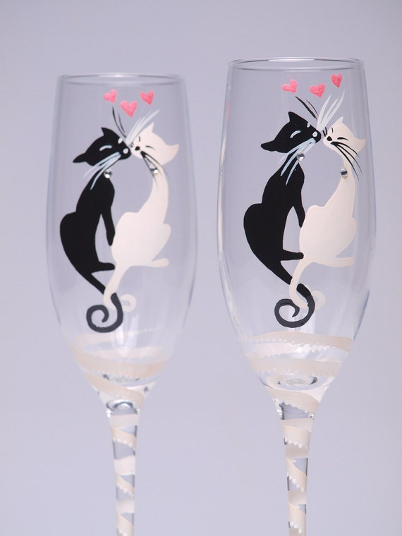Hand painted Toasting Flutes Set of 2 Personalized Champagne