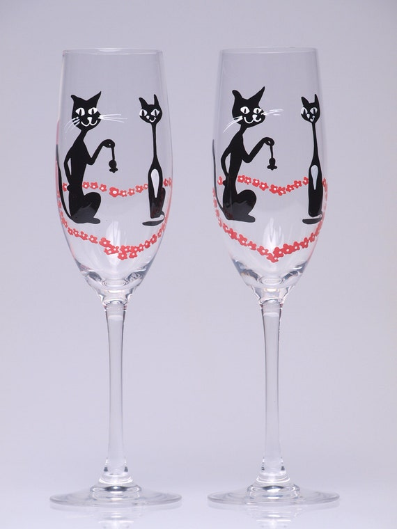 wedding toasting flutes set of 2 personalized champagne glasses black