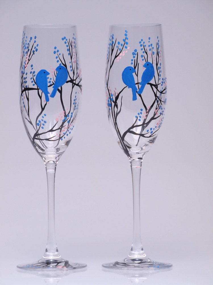 Hand painted wedding toasting flutes set of 2 by pastinshs for Wedding champagne flutes