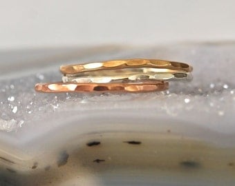 Gold, Rose Gold, Silver Stack Rings-- 6 rings