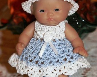 PDF PATTERN Crochet 5 inch Berenguer Baby Doll Dress Hat Bottoms Booty Eyelet Sundress Set