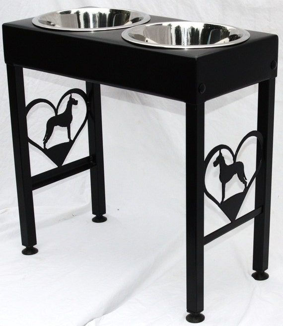 Great Dane Dog Feeder Elevated Raised Metal Art Floor Stand Single, Double or Triple Bowls