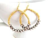 Gold Hoop Earrings Silver Crystals Shimmering Metallic Beaded Handmade Jewelry, Star Light Star Bright