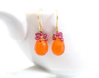 Orange Carnelian Earrings, Pink Tourmaline, 14k Gold, Wire Wrapped Gemstone, Dangle Earrings, Handmade Jewelry, Pink Grapefruit