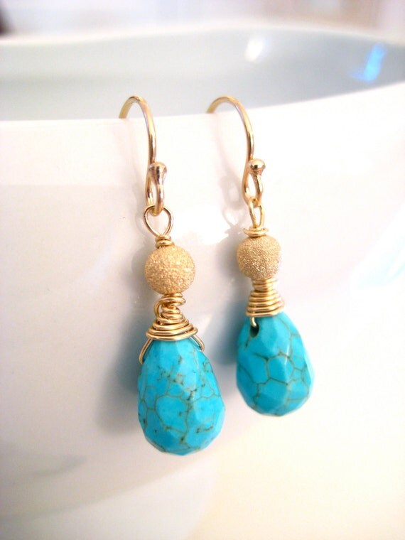 Turquoise Earrings, Turquoise Teardrop, Wire Wrapped, 14k Gold Fill, Gold Stardust beads, Handmade Jewelry, Dazzling Southwest