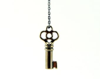Key Necklace Solid Silver White Bronze - The Clover Skeleton Key Pendant - Gwen Delicious Jewelry Design GDJ
