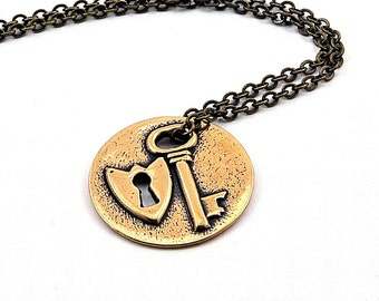 Two for One Sale....Bronze Lock and Key Necklace GDJ