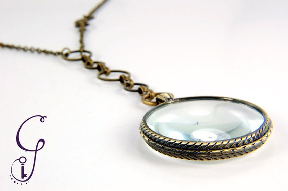 Monocle Necklace - Tiny Antiqued Brass Monocle Magnifier with Vintage Bronze Chain Necklace