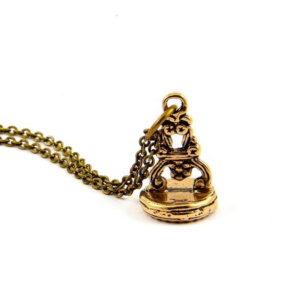 Wax Seal Necklace Bee Stamper Bronze Necklace by Gwen Delicious Jewelry - Usable Seal Stamp