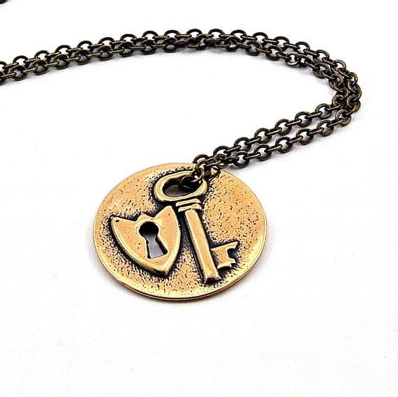 Bronze Lock and Key Necklace GDJ