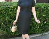 Vintage 1950s to 1960s Black Rayon Satin Brocade Dress