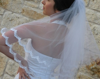 Bridal lace Veil in Two Layers with  Alencon lace Edge design in waist length wedding veil in two tier, blusher lace veil
