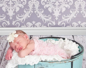 Cream Delphinium Flower Baby Band with Pearl and Netting