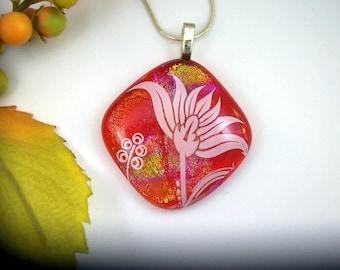 White Flower Fused Glass Jewelry - Red Orange Fused Dichroic Glass Pendan -, Dichroic Jewelry - Fused Pendant