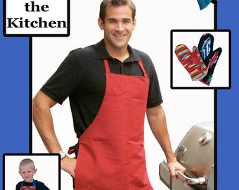 Man in the Kitchen, Mens Apron, Bow Tie and Oven Mitt Pattern