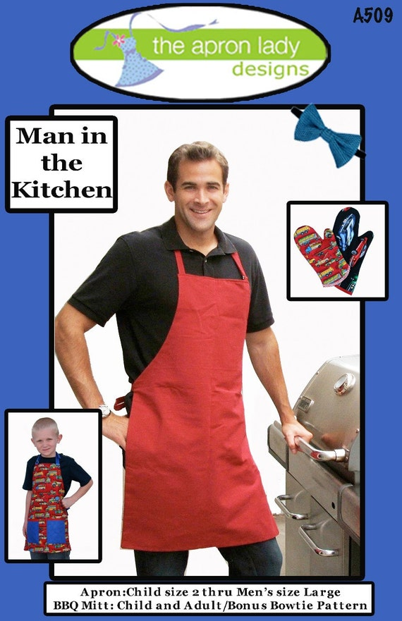 Man In The Kitchen Mens Apron Bow Tie And Oven Mitt Pattern