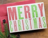 Vintage wood type - Merry Christmas - Letterpress Holiday card