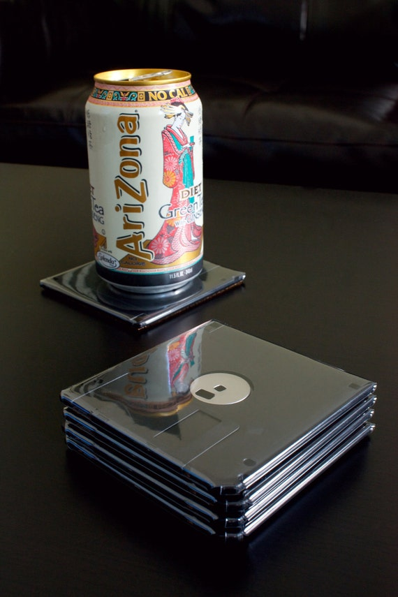 Floppy Disk Coasters - Black with Black Metal Set of 5 - Gift for a Geeky Mom