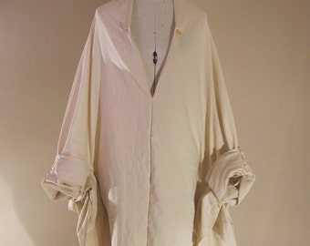 Windswept Cocoon Dress-Creme Linen Blend, Glass Bead Embellishments-Made to Order