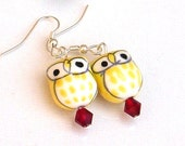 Red and Yellow Owl Earrings, Chi Omega Owl Earrings, Ceramic Porcelain Owls