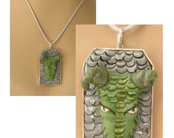 Green Dragon Pendant Necklace Jewelry Handmade NEW Polymer Clay Gift