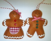 Scented Mr & Mrs Gingerbread Felt Decorations