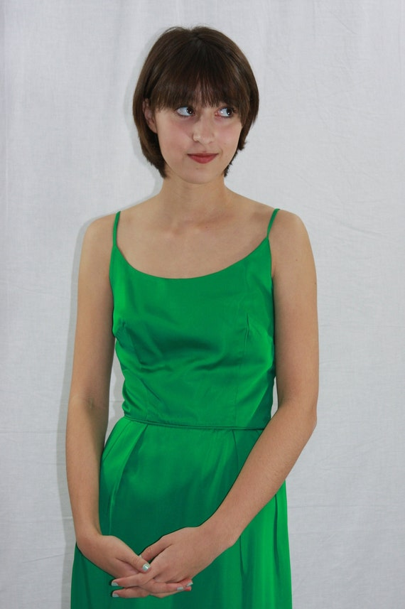 Vintage 1960's EMERALD GREEN Dress -  Long Formal Cocktail Party Frock