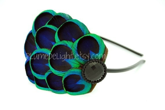 SALE - Cherie - Blue Peacock Feather Headband or Peacock Feather Clip