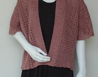 Crochet Cardigan, Crocheted Cardigan, Summer Cardigan, Pink Cardigan, Kimono Cardigan, Cardigan Sweaters, Cotton/Hemp, Available in S/M