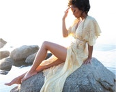 Bohemian wrap dress - Sheer silk chiffon maxi - Made to order / Custom dress - Resort Alternative wedding